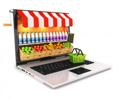 3d supermarket laptop, isolated white background, 3d image stock vector