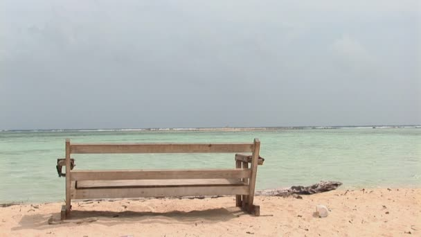 Bench at the ocean on Bonaire, Netherlands Antilles
