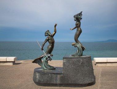 Statue of Neptune and mermaid