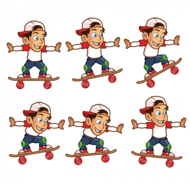 Skater Boy Jumping High Animation Sprite for Game