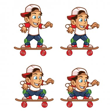 Skater Boy Lowering His Body Animation Sprite