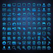 100 vektor modré ikony