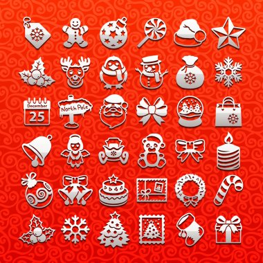 Christmas icons - white set