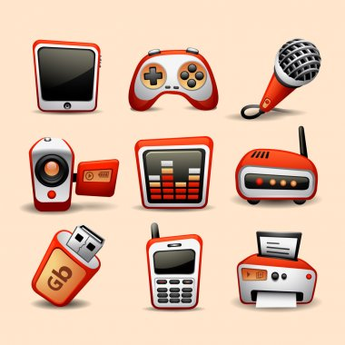 Multimedia icons red color
