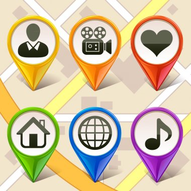 Colorful map markers-set