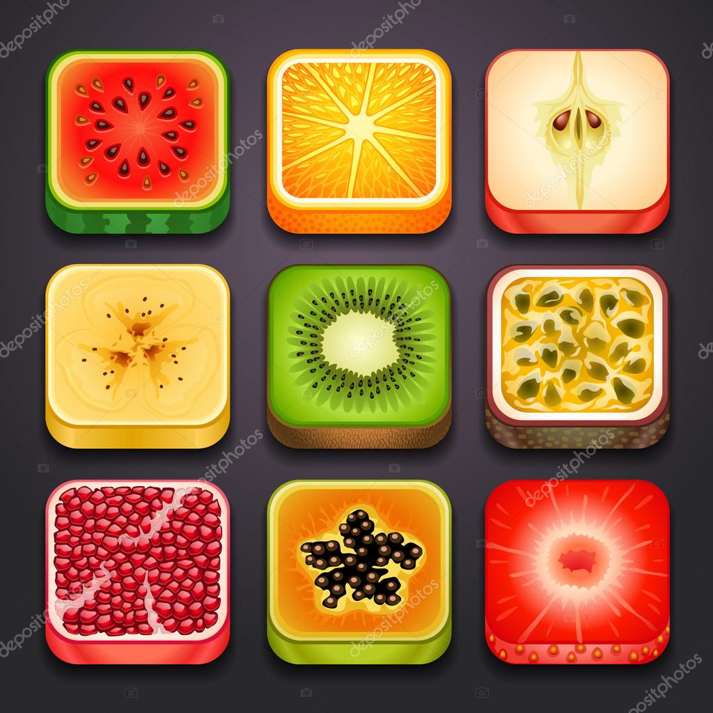 Background for the app icons-fruits clipart vector