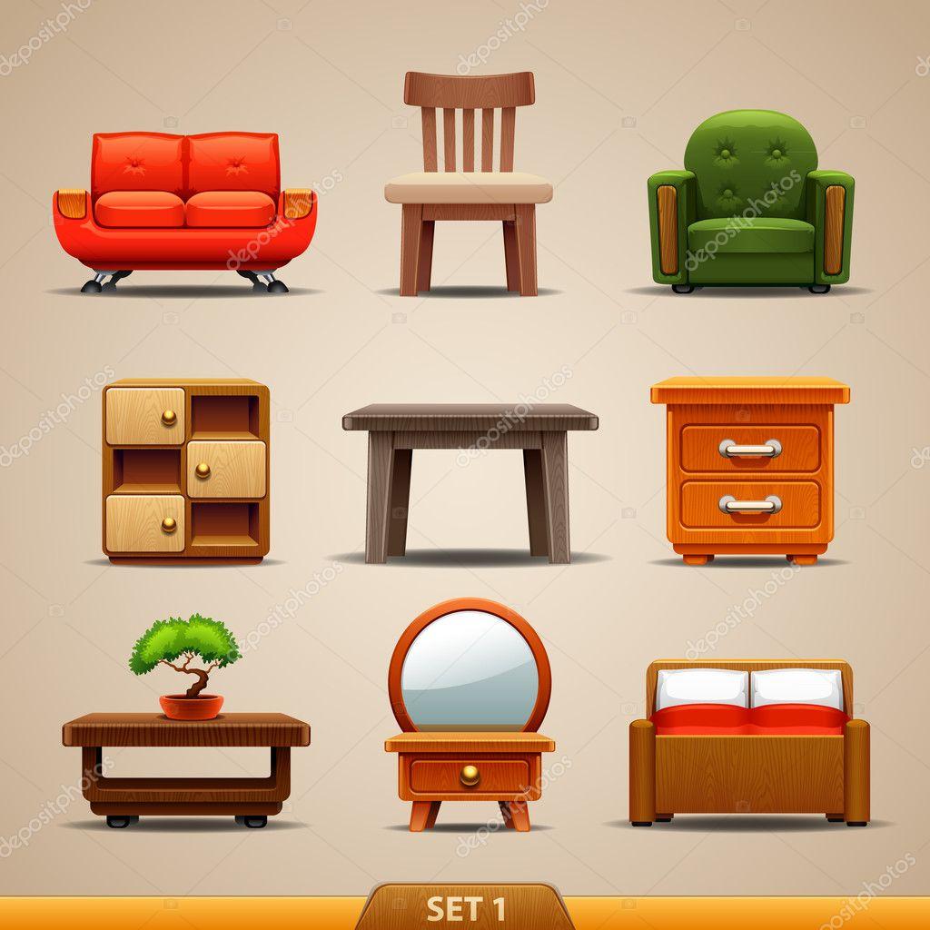 Furniture icons set 1 stock vector kolopach 20213453 for Furniture 0ne