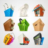 Fotografie nákupní sady ikon