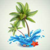 stříkající vodě s palmami