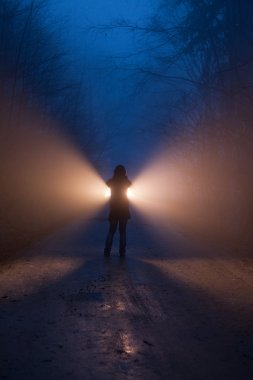 A person with light in forest in night
