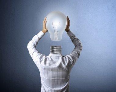 Lamp head businessman