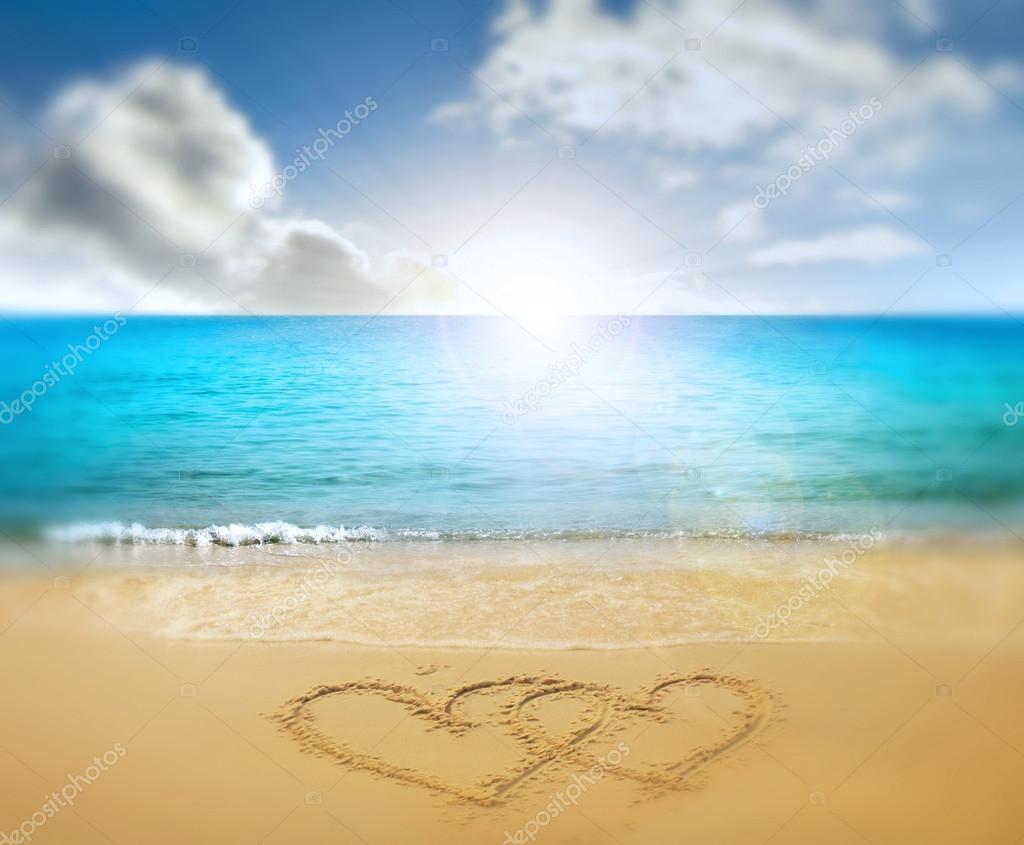 Hearts drawn in beach — Stock Photo © violetkaipa #19725555