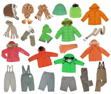 collection of warm children's clothing