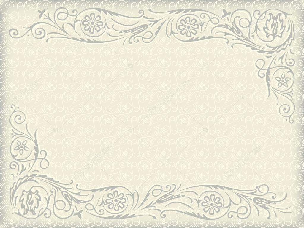 Ornamental Floral Wedding Background Frame With Swirling