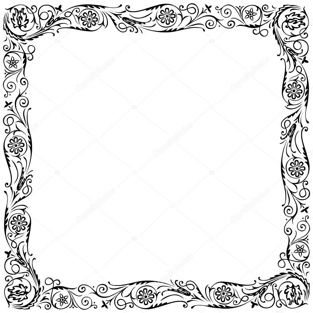 marco de diseño con remolino ornamento decorativo floral. blanco y ...