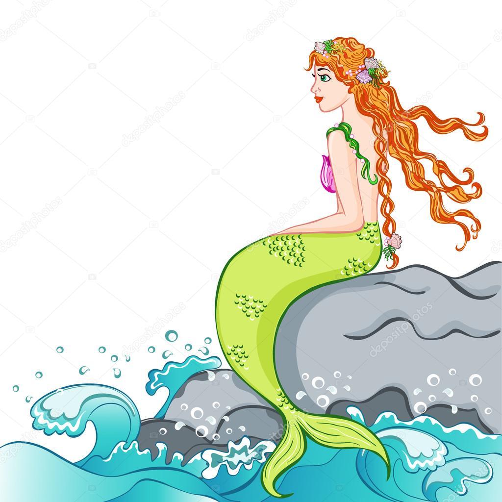 beautiful mermaid sitting on a rock. vector illustration
