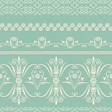seamless pattern with swirling decorative floral elements.