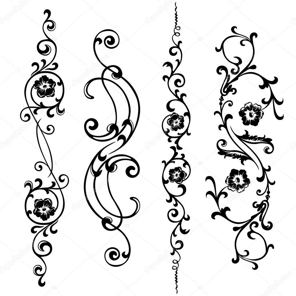 Vector set de remolino para diseo de flores y adornos florales