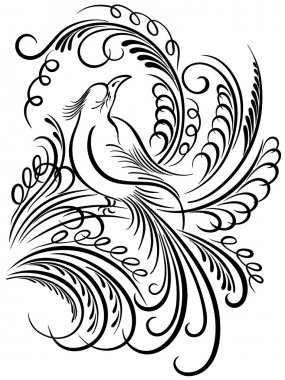 Image of a bird. Calligraphy swirling elements
