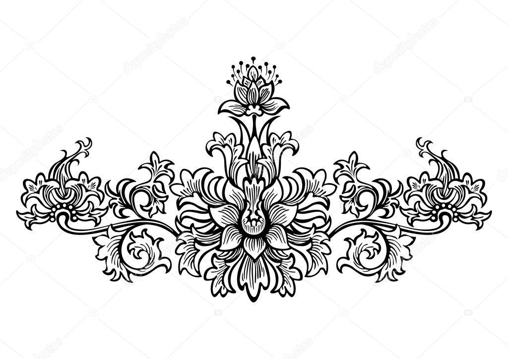 remolinos elementos de diseo de flores y adornos florales Archivo