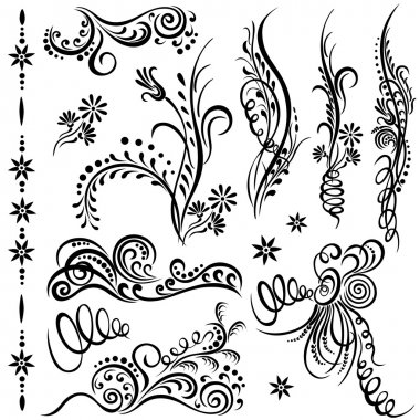 Set swirling decorative elements ornament.
