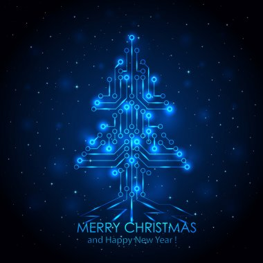 Blue digital Christmas tree