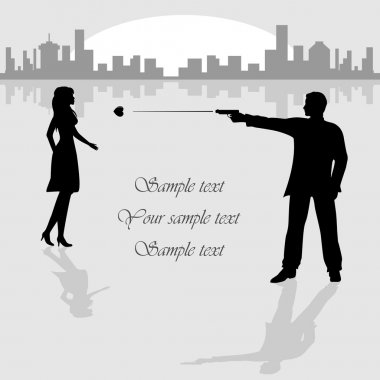 Woman and man with gun on City background, illustration. clip art vector