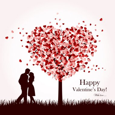 Two enamored under a love tree, illustration. clip art vector
