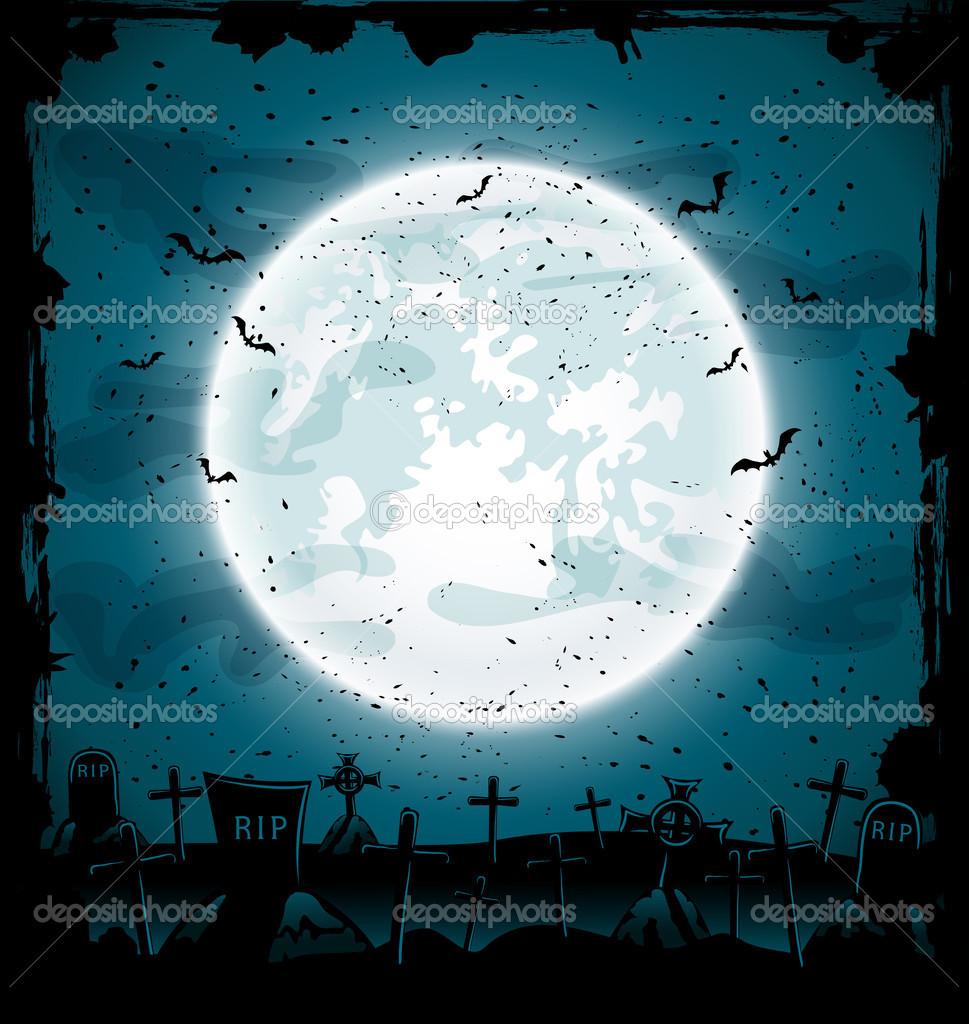halloween cemetery — stock vector © losw #27000929