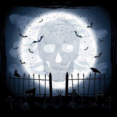 Moon with skull