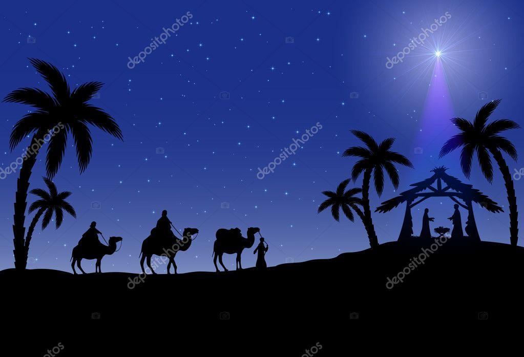 christliche weihnachten szene stockvektor losw 31493473. Black Bedroom Furniture Sets. Home Design Ideas