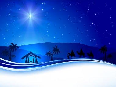 Christmas scene on sky background
