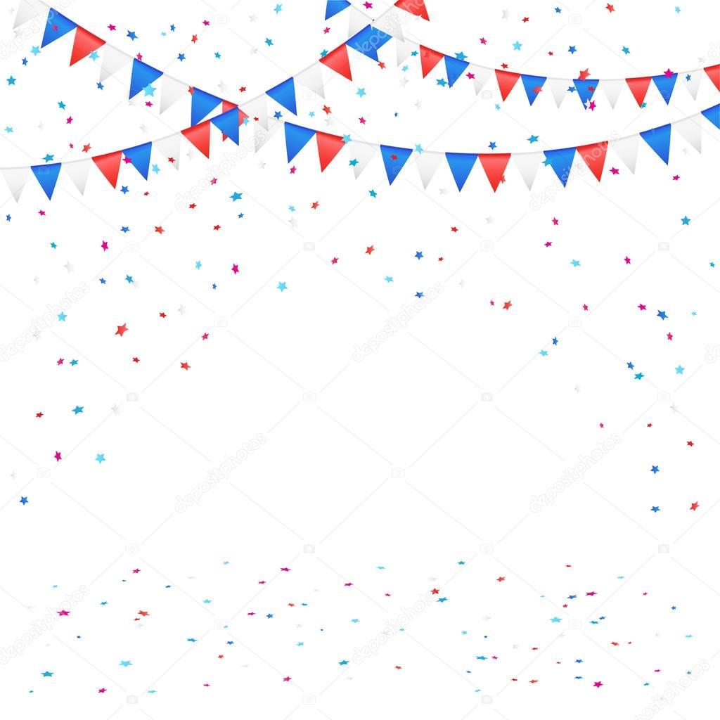 día de la independencia banderines con confeti — Archivo Imágenes ...