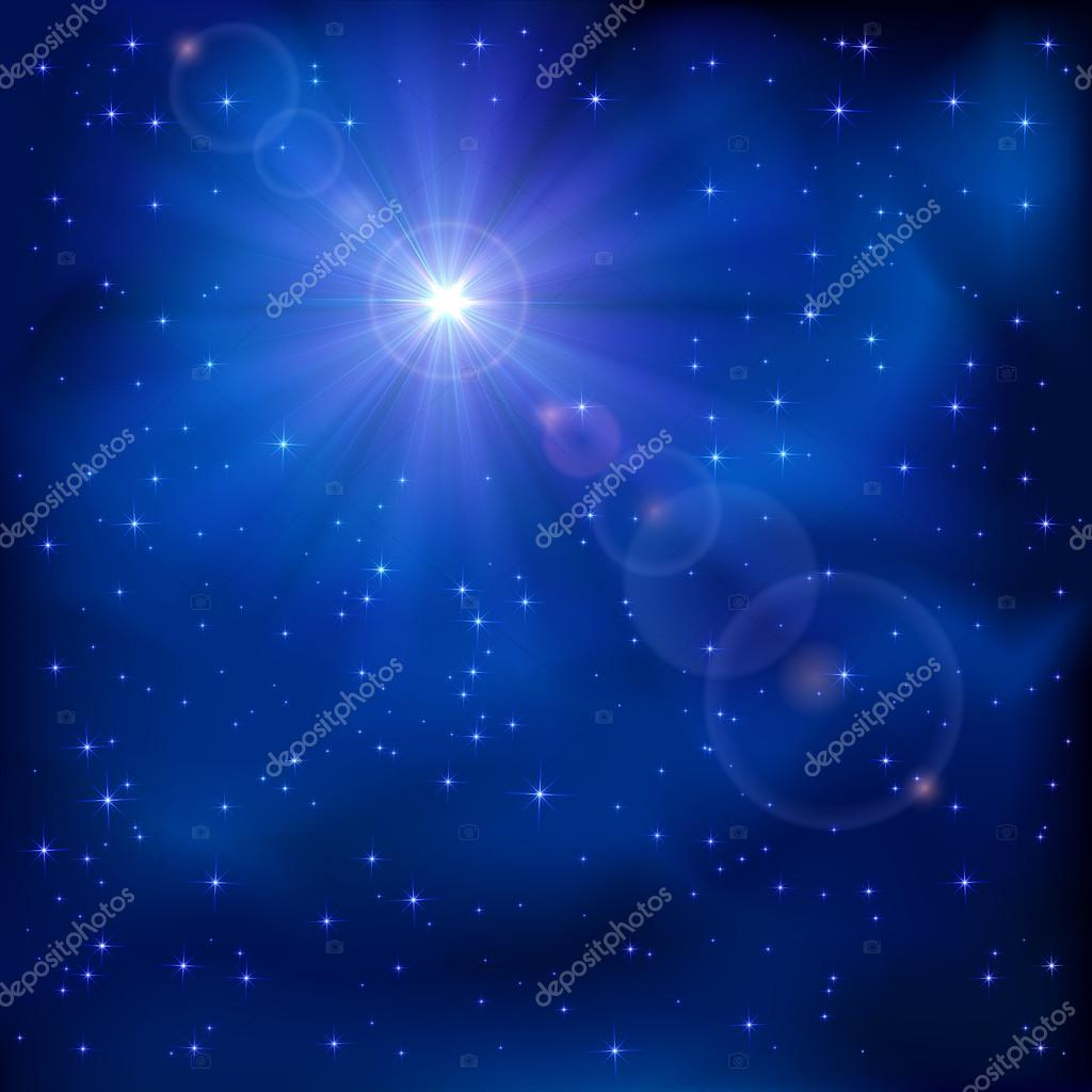 Shiny star on night sky