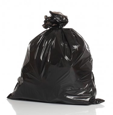 Black garbage bag isolated over white bacground