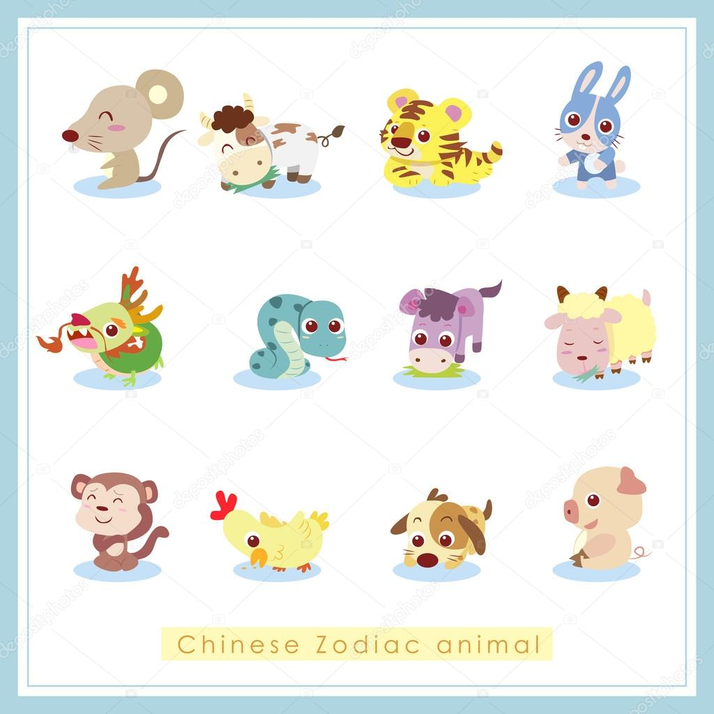 Frame Wall Stickers 12 Cartoon Chinese Zodiac Animal Stickers Stock Vector