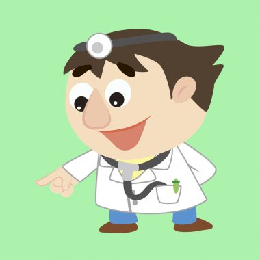 Cartoon doctor refers to the lower left