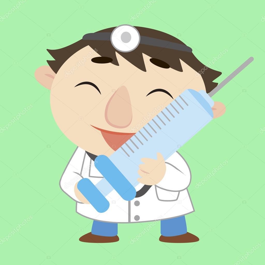 Medico di cartone animato con una siringa — vettoriali