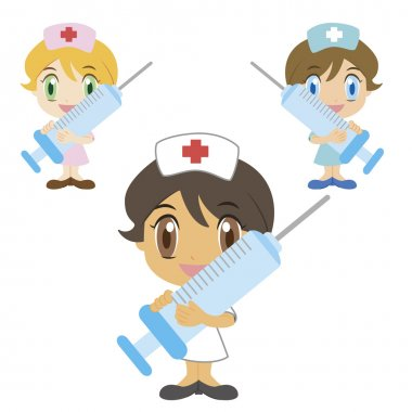 Cartoon nurse with a syringe