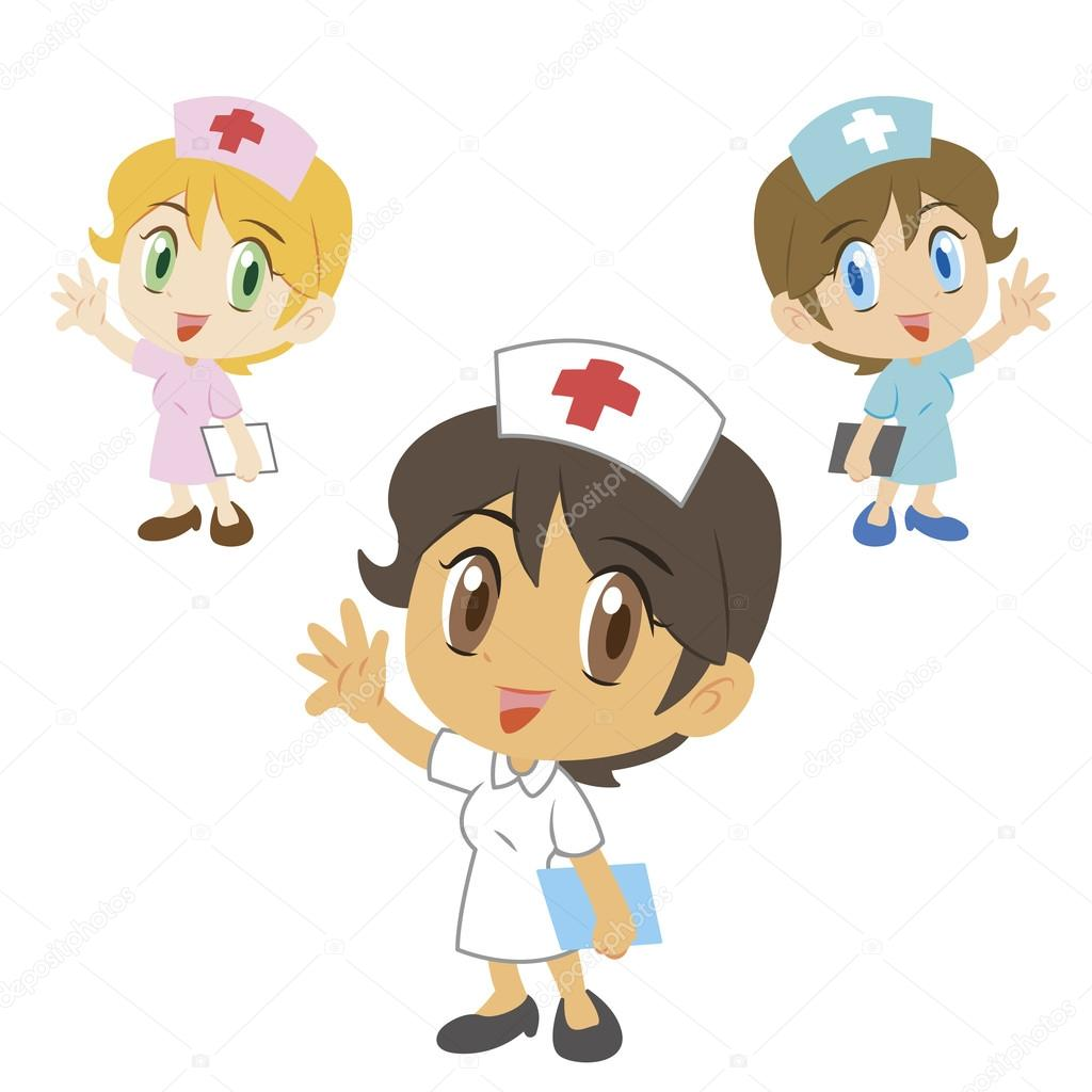 Nurse Cartoon Character Vector Illustration Stock Vector