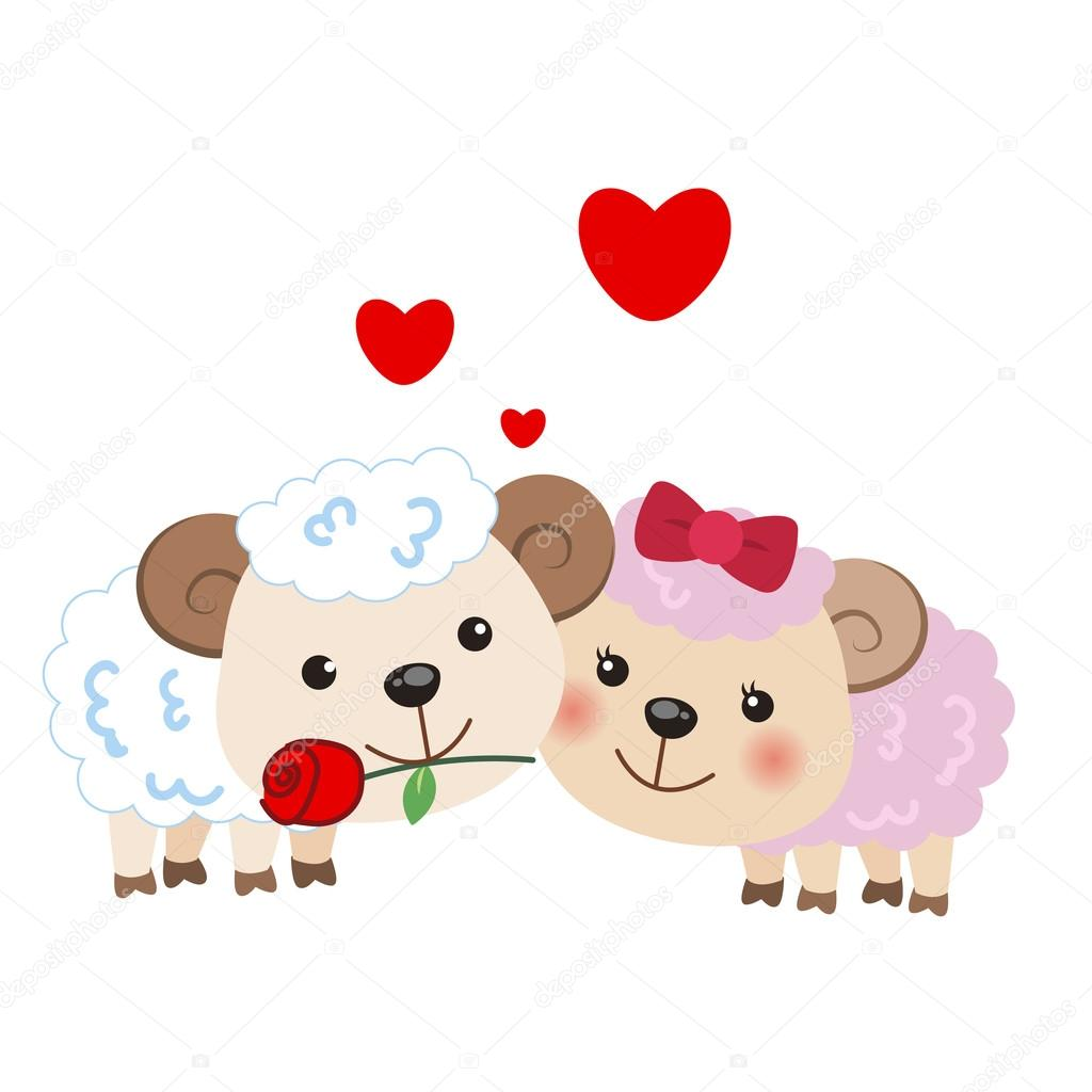 Illustration of a pair of sheep