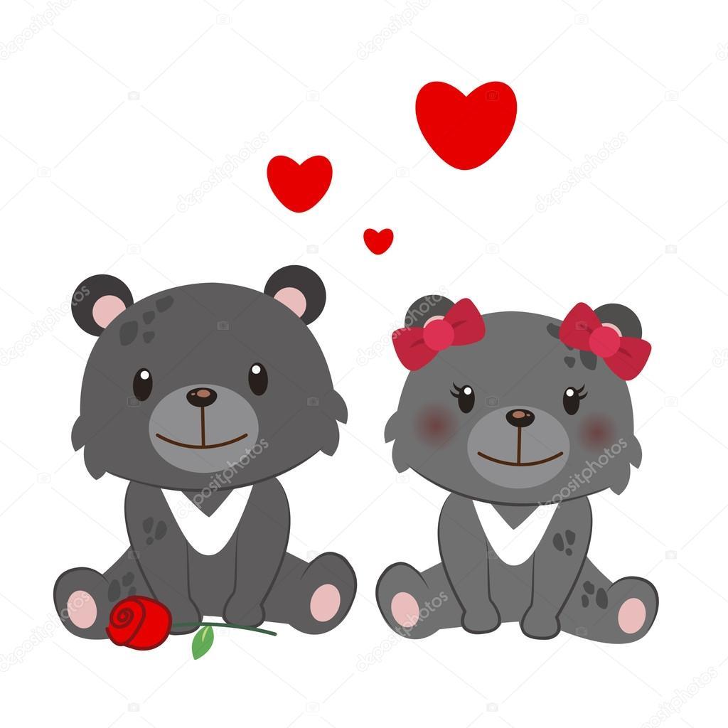 Illustration of a pair of Formosan black bear