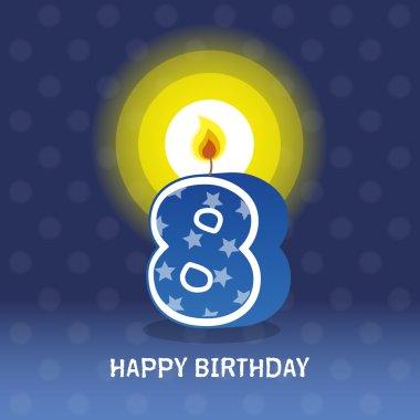 Birthday card, eighth birthday with candle
