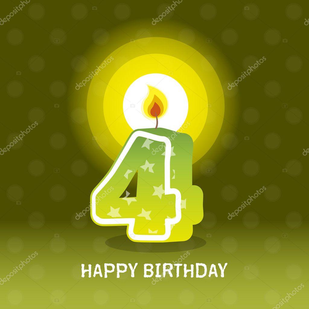 Birthday card, fourth birthday with candle