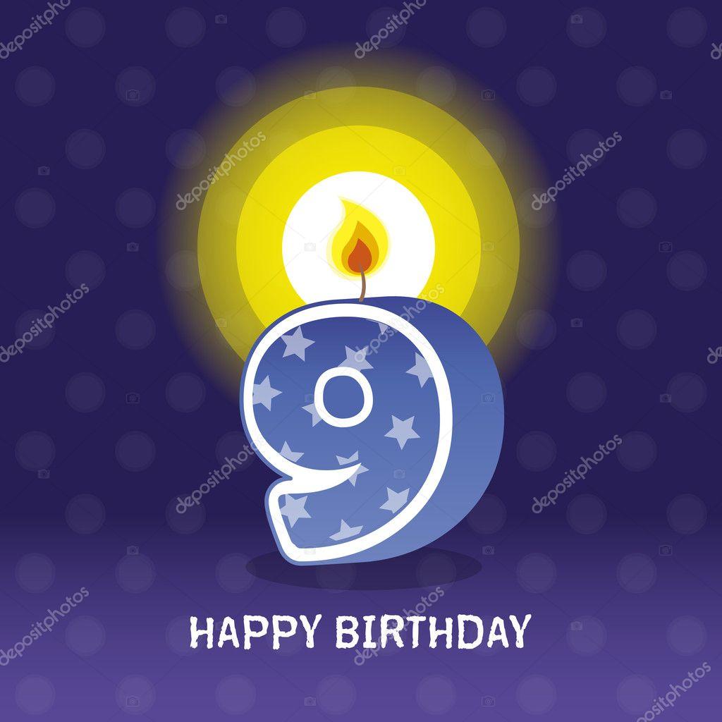Birthday card, ninth birthday with candle