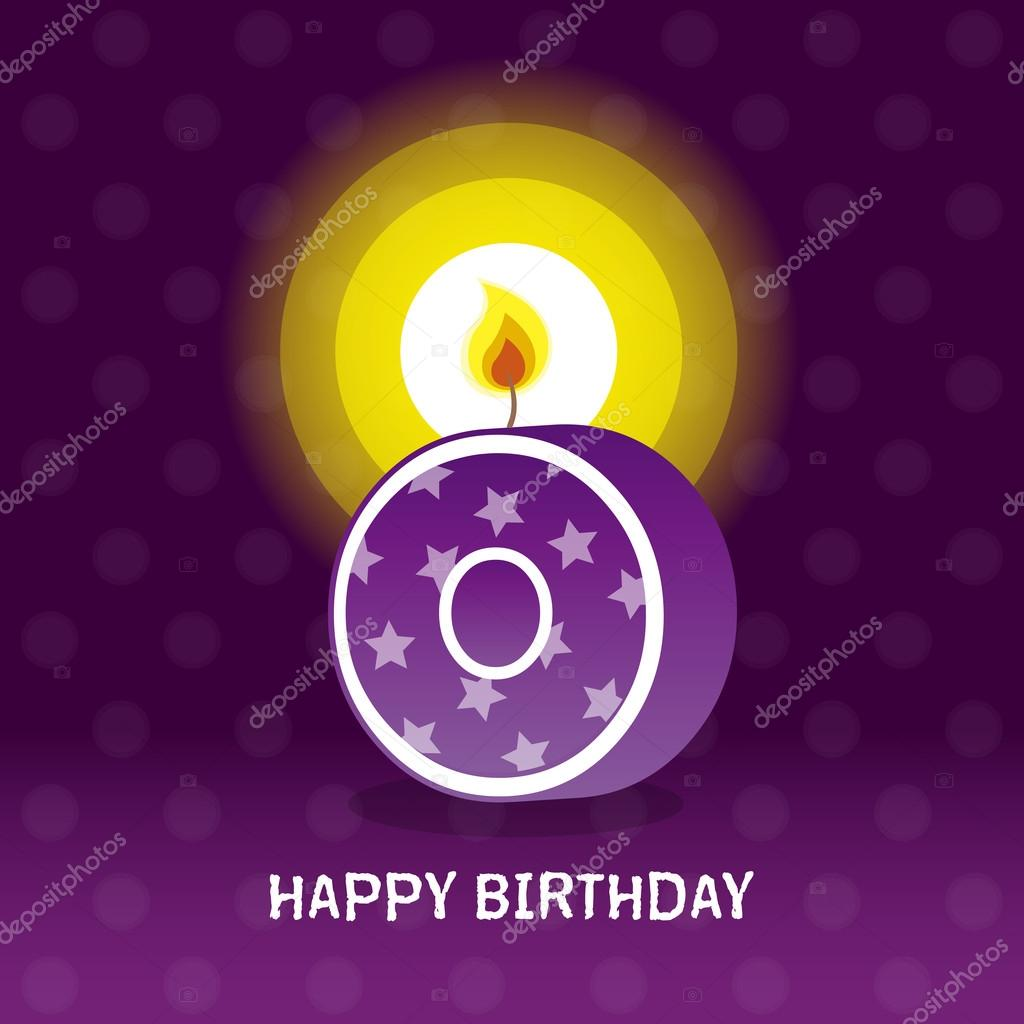 Birthday card, zeroth birthday with candle