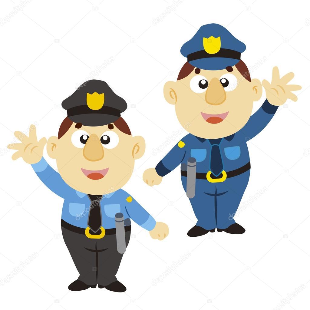 lustige Cartoon Polizist, zweifarbig — Stockvektor © kchungtw #18641417