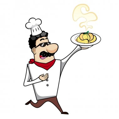 Cartoon Chef with Pasta Bowl