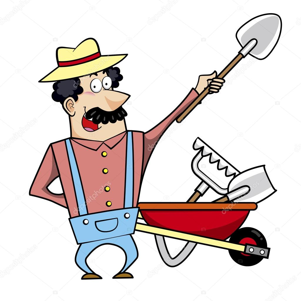 Cartoon landscaper with wheelbarrow and garden tools for Gardening tools cartoon