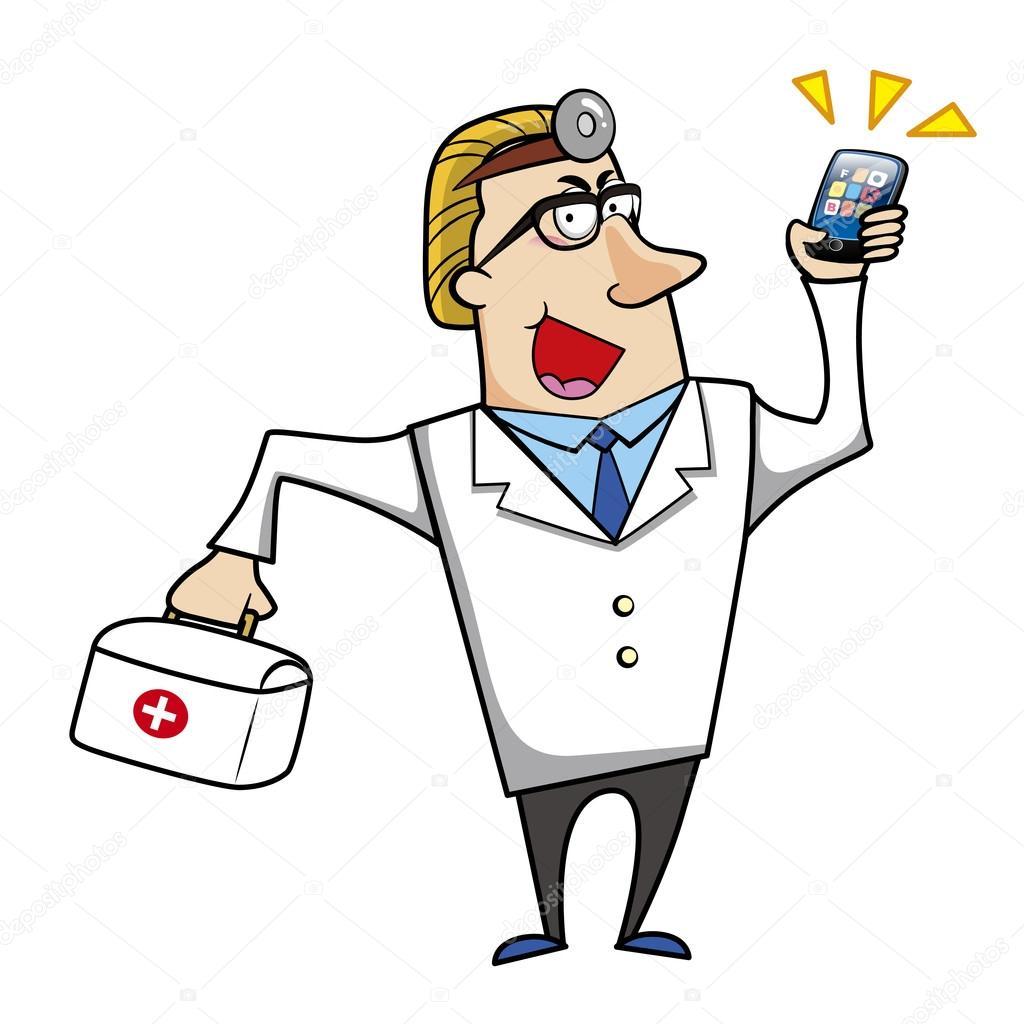 Medico di cartone con kit pronto soccorso e telefono